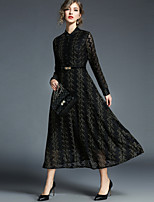 baratos -Mulheres balanço Vestido - Renda, Geométrica Colarinho Chinês Cintura Alta Longo