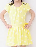 Недорогие -Девичий Платье Хлопок В точечку Лето С короткими рукавами Простой Синий Зеленый Желтый