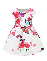 cheap -Girl's Daily Going out Solid Floral Butterfly Dress,Cotton Spring Summer Short Sleeves Cute Active Princess Red