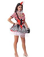 abordables -Burlesques Payaso Disfrace de Cosplay Mujer Halloween Festival / Celebración Disfraces de Halloween Rojo Ajedrez