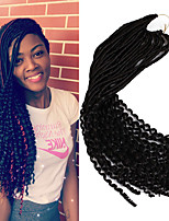 cheap -22inch Soft Dreadlocs Crochet Braids With Curly End Kanekalon Fauxlocs Hair Extension Synthetic Braiding Hair Ombre Brown Burgundy 6-8pc One Head