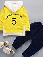 preiswerte -Jungen Kleidungs Set Druck Polyester Herbst Schwarz Orange Rote Gelb Königsblau