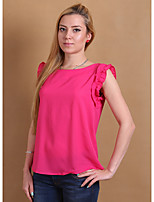 cheap -Women's Going out Casual Blouse,Solid Round Neck Sleeveless Polyester Opaque