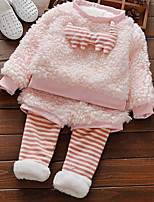 cheap -Baby Girls' Going out Solid Clothing Set,Polyester Winter Fall Street chic Long Sleeve Blushing Pink