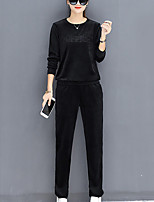cheap -Women's Sports Casual/Daily Simple Spring Fall Set Pant Suits,Solid Letter & Number Round Neck Long Sleeves Cotton Polyester