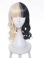cheap -Synthetic Hair Wigs Water Wave Cosplay Wig Medium Black