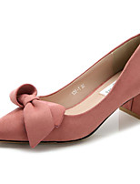 Women's Shoes Nubuck leather Spring Fall Comfort Heels Chunky Heel for Casual Pink Gray Black