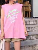 economico -T-shirt Da donna Quotidiano Casual Estate,Con stampe Rotonda Cotone Senza maniche Medio spessore