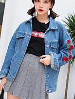 cheap -Women's Daily Vintage All Season Denim Jacket,Solid Round Neck Short Sleeve Regular Cotton Acrylic Pleated