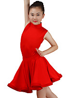 cheap -Latin Dance Outfits Children's Performance Cotton Ruching Sleeveless High Skirts Leotard