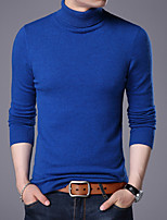 cheap -Men's Daily Casual Regular Pullover,Solid Turtleneck Long Sleeves Polyester All Season Thin Stretchy