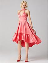 preiswerte -A-Linie Prinzessin Stehkragen Asymmetrisch Satin Jersey Formeller Abend Kleid mit Drapiert Plissee durch TS Couture®