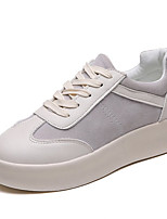 cheap -Women's Shoes PU Spring Fall Comfort Sneakers Flat Heel Round Toe for Casual Gray Black