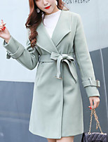 cheap -Women's Going out Street chic Winter Fall Trench Coat,Solid Peter Pan Collar Long Sleeve Long Polyester