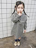 abordables -Robe Fille de Quotidien Couleur Pleine Ecossais/à Carreaux Coton Fibre de bambou Printemps Manches Longues Rétro Noir
