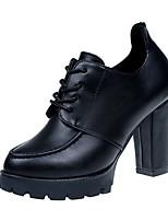 Недорогие -Для женщин Обувь Полиуретан Весна Удобная обувь Обувь на каблуках На толстом каблуке Круглый носок для Повседневные Черный Красный