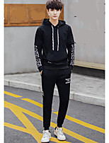 cheap -Men's Plus Size Going out Casual Set Solid Round Neck Hoodies Inelastic Polyester Long Sleeve Winter