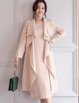 preiswerte -Damen Solide Freizeit Alltag Ausgehen Set Kleid Anzüge,Hemdkragen Herbst Langärmelige Reine Farbe Polyester Mikro-elastisch