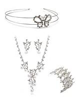 cheap -Women's Headwear Bridal Jewelry Sets Rhinestone Fashion European Wedding Party Imitation Diamond Alloy Butterfly Body Jewelry 1 Necklace