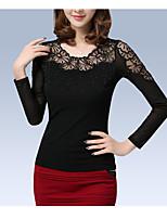 preiswerte -Damen Solide Freizeit Alltag T-shirt,Rundhalsausschnitt Winter Herbst Langärmelige Polyester Undurchsichtig
