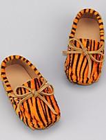 Недорогие -Девочки обувь Бархатистая отделка Весна Осень Удобная обувь Обувь для малышей Мокасины и Свитер для Повседневные Белый Оранжевый