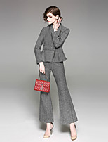 cheap -EWUS Women's Going out Work Vintage Street chic Spring Fall Set Pant Suits,Striped Shirt Collar Long Sleeve Wool Polyester Inelastic