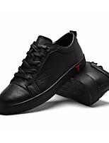 Недорогие -Муж. обувь Кожа Весна Осень Удобная обувь Кеды для Повседневные Черный