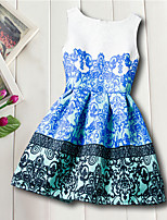 cheap -Girl's Daily Holiday Going out Floral Galaxy Jacquard Dress,Cotton Acrylic All Seasons Sleeveless Vintage Cute Casual Blue