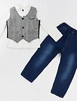 preiswerte -Jungen Kleidungs Set Alltag Ausgehen Solide Einfarbig Baumwolle Elasthan Ganzjährig Langarm Street Schick Grau
