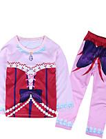 Недорогие -Девочки Набор одежды Повседневные Шерсть Хлопок Бамбуковая ткань Однотонный Весна Простой Винтаж Розовый