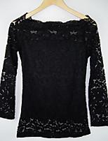 economico -T-shirt Da donna Per eventi Vintage Inverno Primavera,Tinta unita A barca Cotone Maniche lunghe Medio spessore