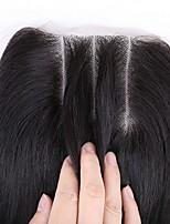 Недорогие -3 части кружева закрытия прямые 3,5x4 бразильские виргинские человеческие волосы 100% необработанные три части кружева закрытия