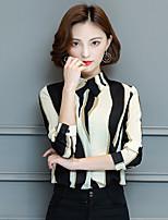 cheap -Women's Work Sexy Winter Shirt,Color Block Shirt Collar Long Sleeves Cotton Medium