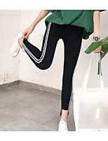 preiswerte -Damen Moderner Stil Mittel Baumwolle Gestreift Bedruckt Legging,Schwarz
