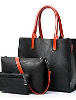 cheap -Women's Bags PU Bag Set 3 Pcs Purse Set Pockets for Casual Office & Career All Seasons Brown Gray Red Black