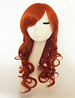 cheap -Synthetic Hair Wigs Deep Wave With Bangs Capless Halloween Wig Party Wig Long Red