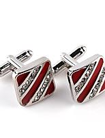 cheap -Geometric Red Black Cufflinks Imitation Diamond Alloy Formal Fashion Elegant Wedding Evening Party Men's Costume Jewelry