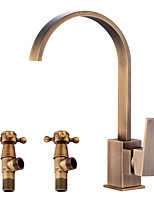 cheap -Antique Centerset Widespread Ceramic Valve Single Handle One Hole Antique Copper , Bathroom Sink Faucet