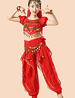 cheap -Belly Dance Outfits Girls' Performance Chiffon Paillette Ruffles Short Sleeves Dropped Top Pants Belt Bracelets Headwear