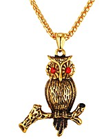 cheap -Men's Owl Metallic Cool Pendant Necklace Cubic Zirconia Stainless Steel Pendant Necklace , Daily