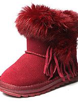 cheap -Girls' Shoes Real Leather Nubuck leather Winter Fall Comfort Snow Boots Boots Booties/Ankle Boots for Casual Red Coffee Black