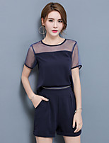 cheap -Women's Going out Simple Summer Fall Blouse Pant Suits,Solid Round Neck 3/4 Sleeve Chiffon Cotton Acrylic Polyester Micro-elastic