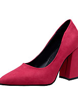 cheap -Women's Shoes PU Spring Fall Comfort Heels Chunky Heel for Outdoor Red Black