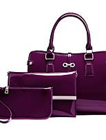 economico -Donna Sacchetti PU (Poliuretano) sacchetto regola Set di borsa da 3 pezzi Cerniera per Casual Inverno Autunno Blu Nero Rosso Viola