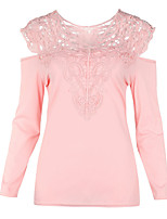 abordables -Tee-shirt Femme, Couleur Pleine - Ouvert Brodée Polyester Spandex