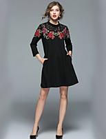 economico -Linea A Vestito Da donna-Per uscire Ufficio Casual Moda città Con stampe Colletto alla coreana Al ginocchio Maniche lunghe Modal