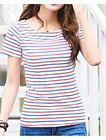 cheap -Women's Daily Casual Spring Summer T-shirt,Print Round Neck Short Sleeve Cotton Medium