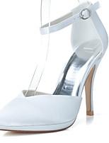 economico -Da donna Scarpe Raso Primavera Estate Decolleté scarpe da sposa A stiletto Appuntite Fibbia per Matrimonio Serata e festa Bianco
