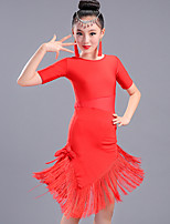 cheap -Latin Dance Dresses Children's Performance Spandex Tassel(s) Half Sleeve High Dresses