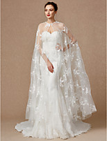 cheap -Sleeveless Lace Tulle Wedding Party / Evening Women's Wrap With Applique Buckle Lace Capes